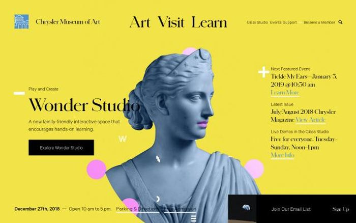 Screenshot of The Chrysler Museum of Art website