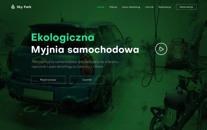Screenshot of Ręczna myjnia samochodowa : Auto detailing : Pranie i czyszczenie tapicerki : Woskowanie, korekta i zabezpieczenie lakieru powłoką ceramiczną Gdańsk-Oliwa : SkyPark