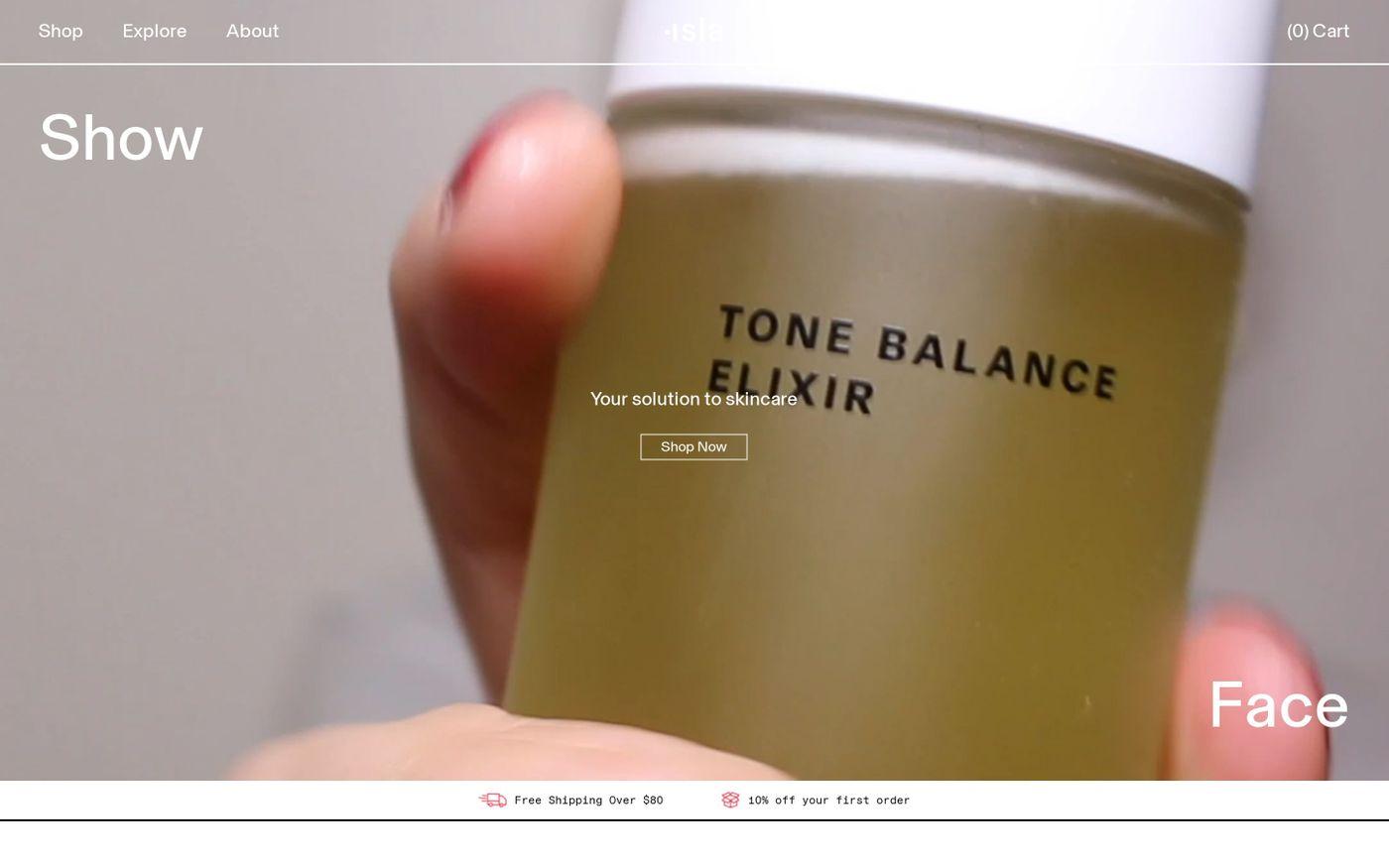 Screenshot of Isla website