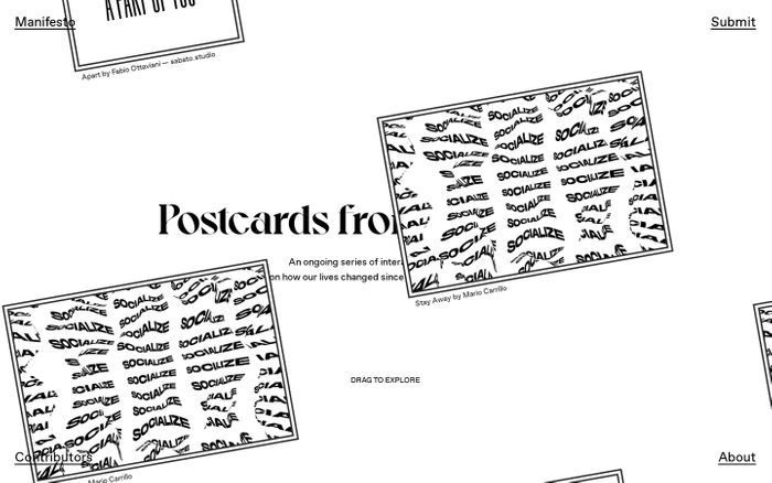 Screenshot of Postcards from Isolation website