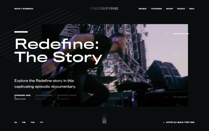 Screenshot of Redefine – Redefine: Nicky Romero – Official website