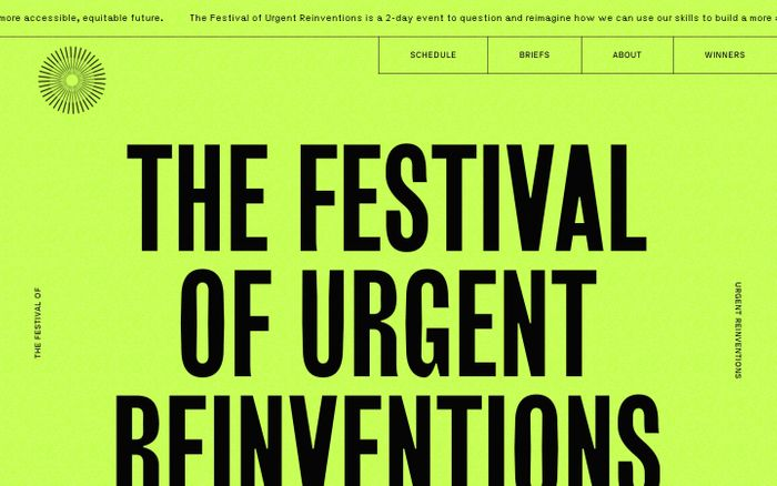 Screenshot of The Festival of Urgent Reinventions website