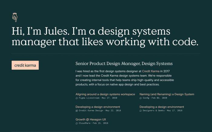 Screenshot of Jules Forrest website