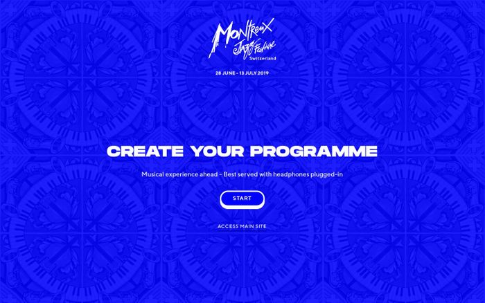 Screenshot of Montreux Jazz Festival 2019 - Create Your Programme