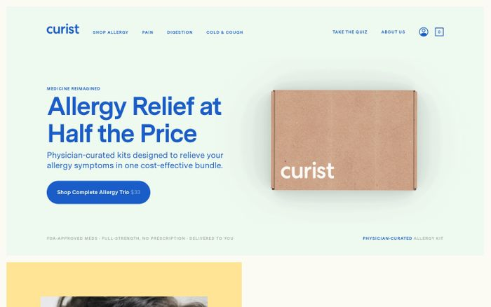 Screenshot of Curist website