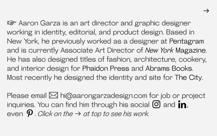 Screenshot of Aaron Garza Design