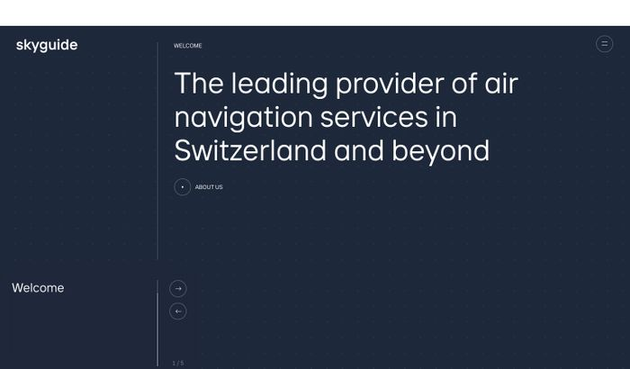 Screenshot of Skyguide website