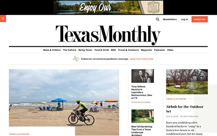 Screenshot of Texas monthly website
