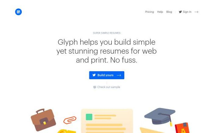 Screenshot of Glyph website