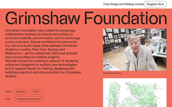 Screenshot of Grimshaw Foundation website