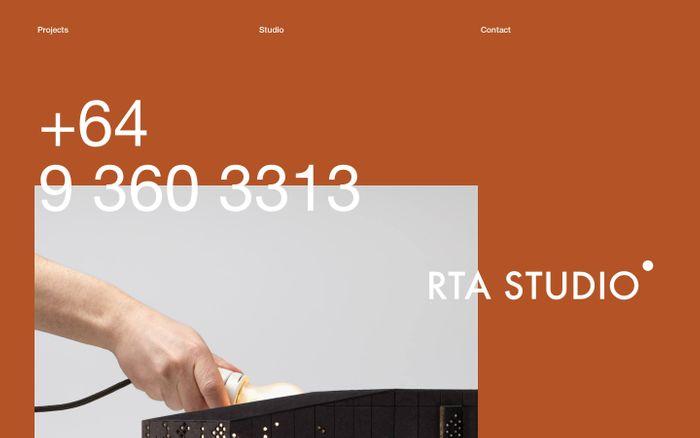 Screenshot of RTA Studio website