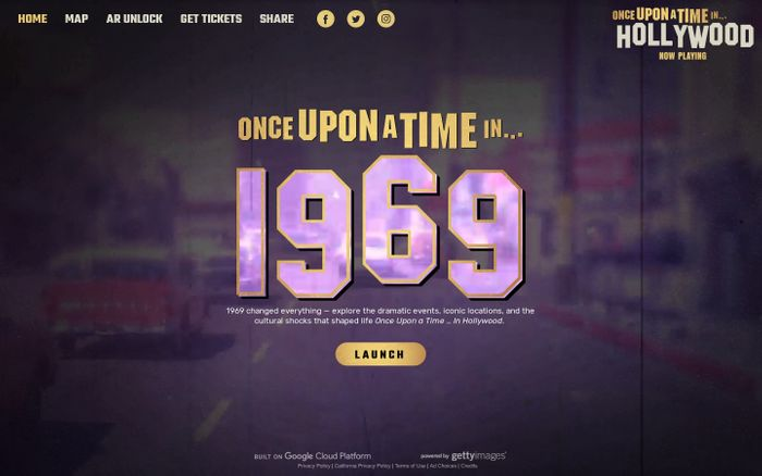 Screenshot of Once Upon a Time in 1969 website