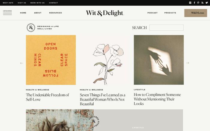 Screenshot of Wit & Delight website