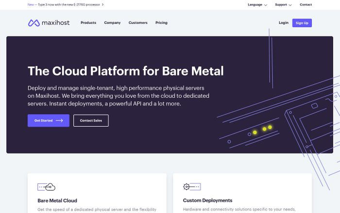 Screenshot of Bare Metal Cloud & Custom Deployments Provider | Maxihost