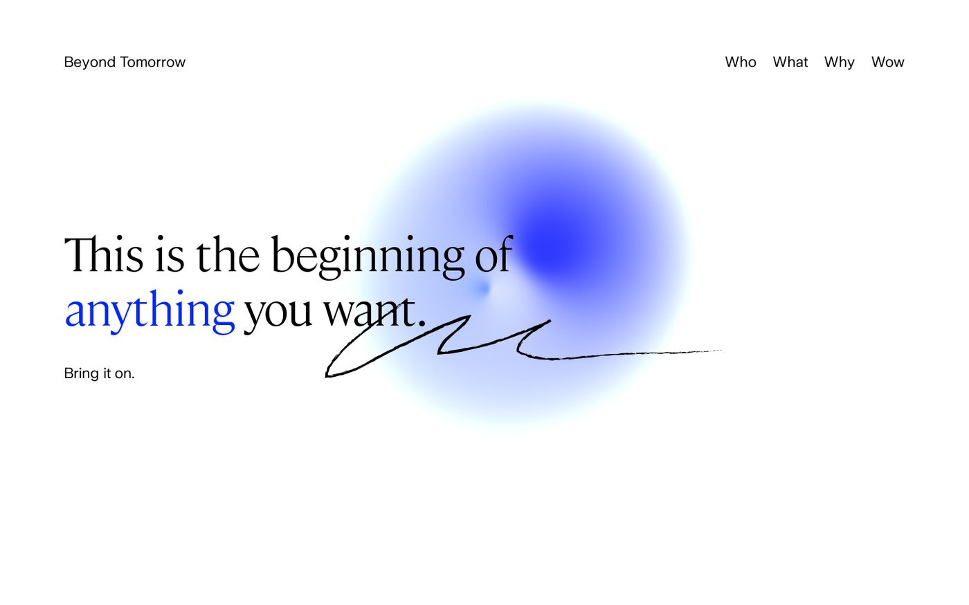 Screenshot of Beyond tomorrow website