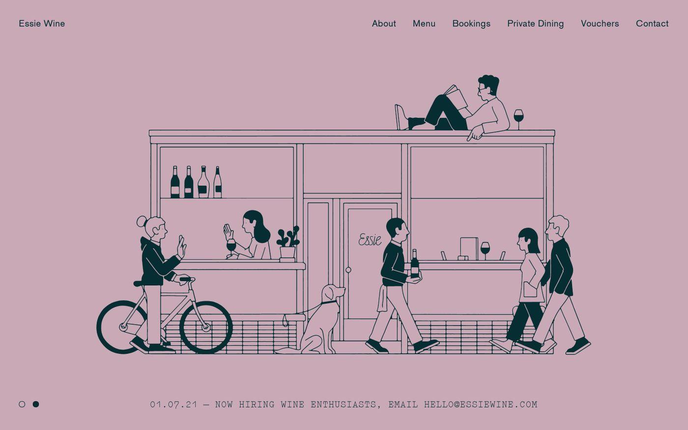 Screenshot of Essie Wine website