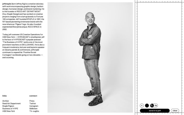Screenshot of Jeff Staple website