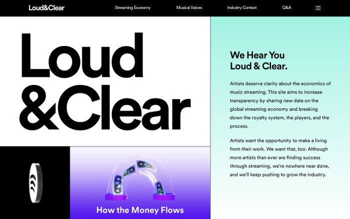 Screenshot of Loud & clear website