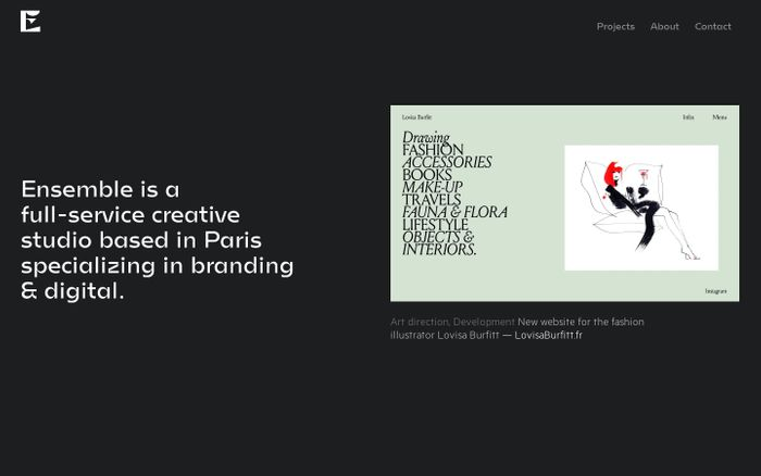 Screenshot of Ensemble - Full service creative studio website