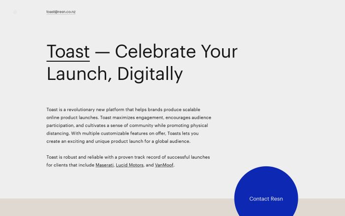 Screenshot of Toast – Celebrate Your Launch, Digitally