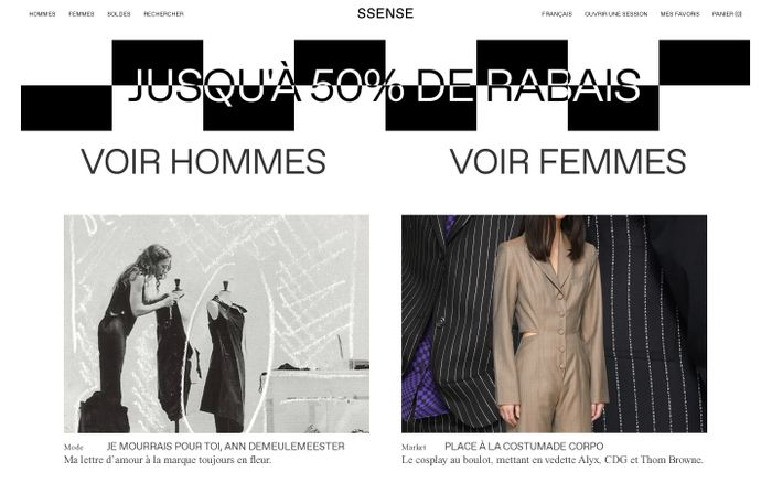 Screenshot of Ssense website