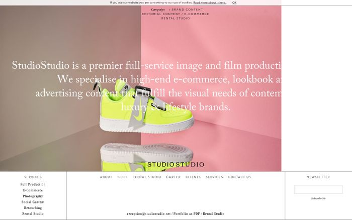 Screenshot of StudioStudio website