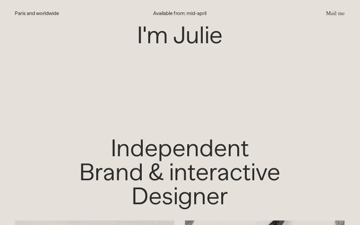 Screenshot of Julie Muckensturm - Brand and interactive designer based in Paris