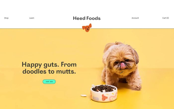 Screenshot of Heed Foods website