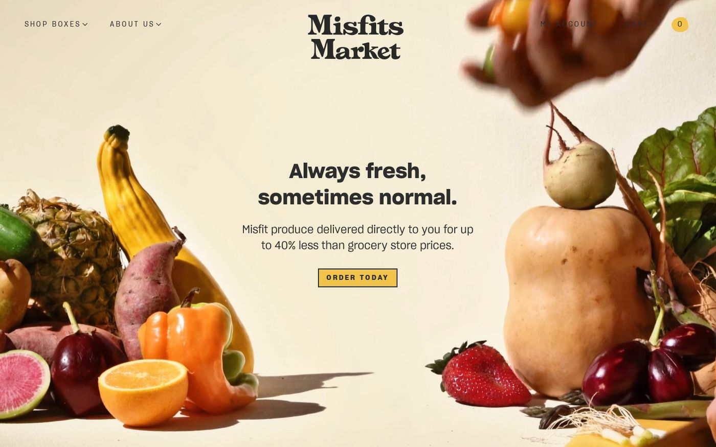 Screenshot of Misfits Market website