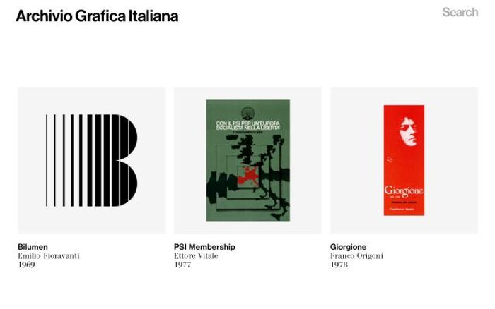 Screenshot of Archiviograficaitaliana website