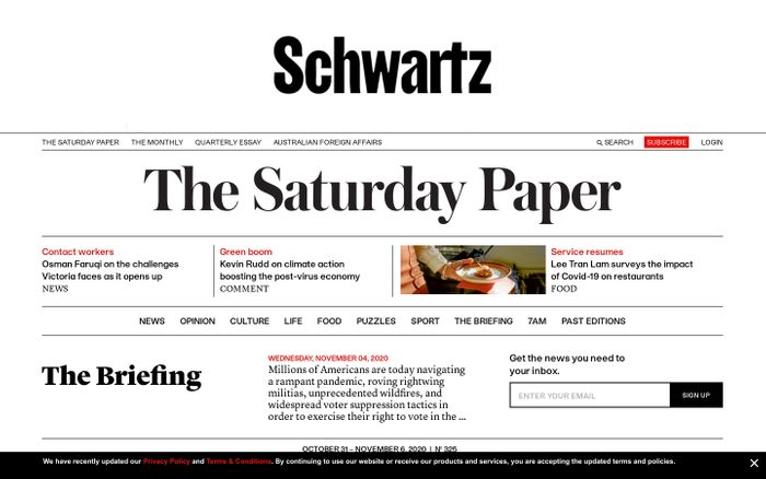 Screenshot of The Saturday paper website