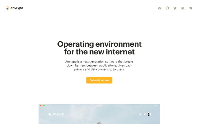 Screenshot of Anytype website