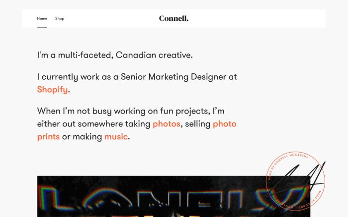 Screenshot of Connell McCarthy - Canadian Creative