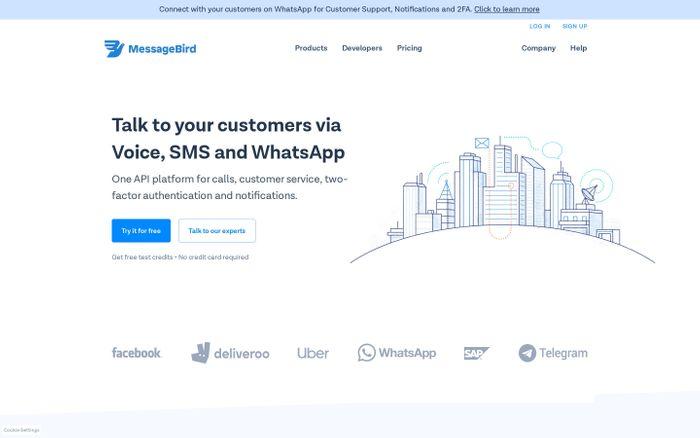 Screenshot of MessageBird | Reach 7 billion phones in seconds via SMS, Voice & WhatsApp. - MessageBird