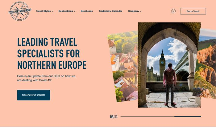 Screenshot of Tour Partner Group website