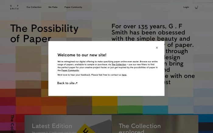 Screenshot of G.F Smith website