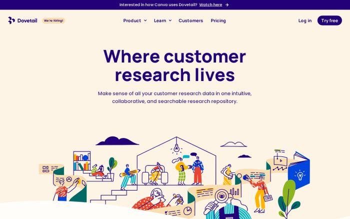 Screenshot of Dovetail website