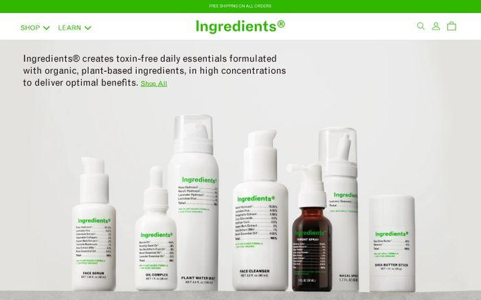 Screenshot of Ingredients website