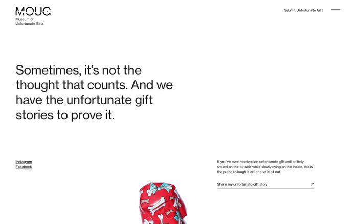 Screenshot of MOUG | Museum of unfortunate gifts