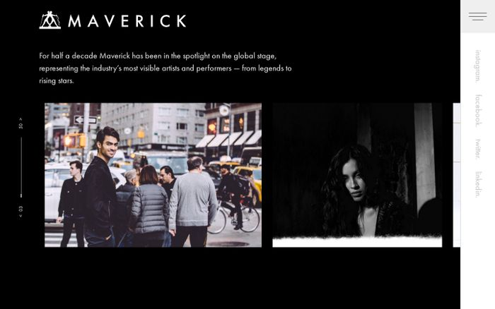 Screenshot of Maverick – Representing the industry's most visible artists and performers — from legends to rising stars