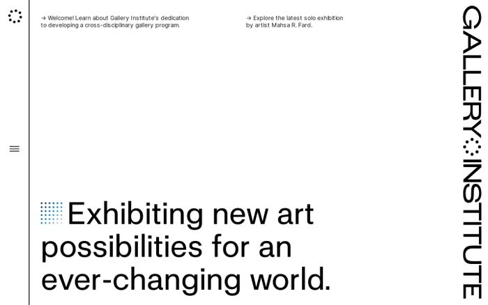 Screenshot of Gallery Institute website