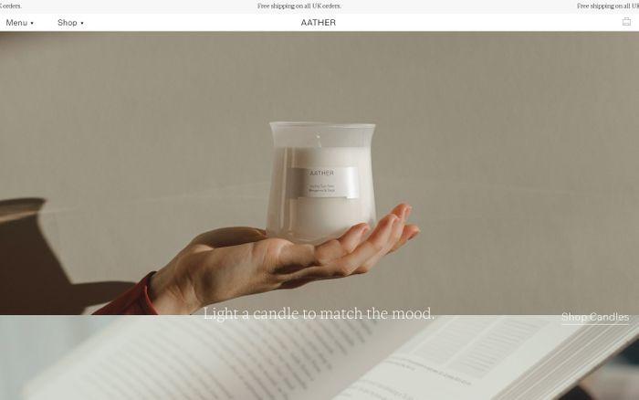 Screenshot of Aather website