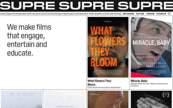 Screenshot of Supre website