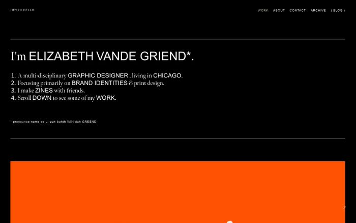 Screenshot of ELIZABETH VANDE GRIEND