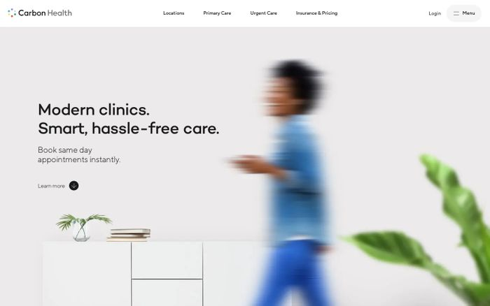 Screenshot of Carbon Health website