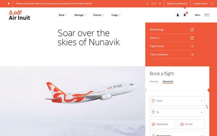 Screenshot of Air Inuit website