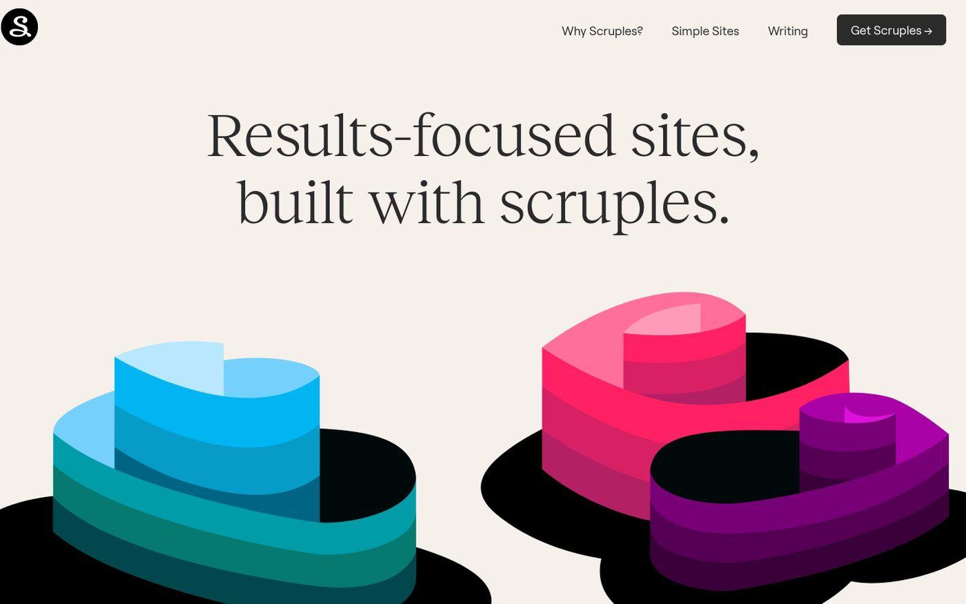 Screenshot of Scruples Studio website