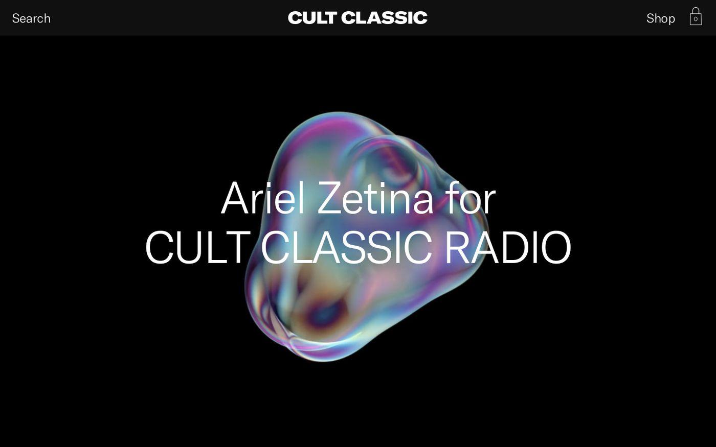 Screenshot of Cult Classic Magazine website