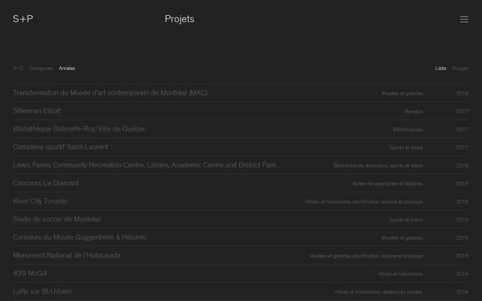 Screenshot of Projets | Saucier + Perrotte