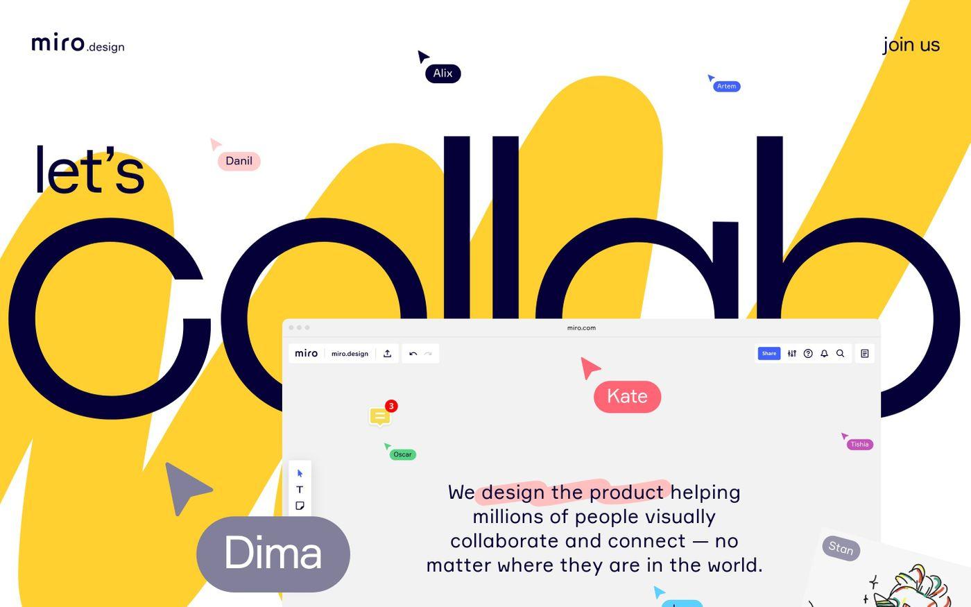 Screenshot of Miro design website